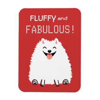 Fluffy and Fabulous White Pomeranian Rectangular Photo Magnet