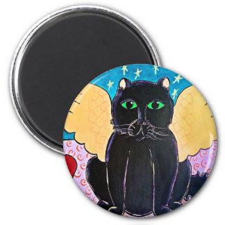 Fluffy Angel Cat 6 Cm Round Magnet
