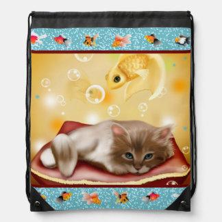 Fluffy baby Kitten on pillow day dreaming of fish Backpacks