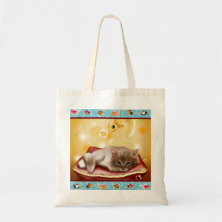 Fluffy baby Kitten on pillow day dreaming of fish Budget Tote Bag