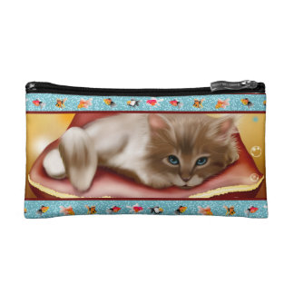 Fluffy baby Kitten on pillow day dreaming of fish Cosmetics Bags