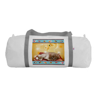 Fluffy baby Kitten on pillow day dreaming of fish Gym Duffel Bag