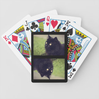 Fluffy Black Cat Bicycle Playing Cards