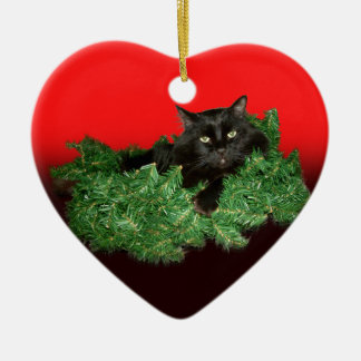 Fluffy Black Cat in Christmas Wreath Christmas Ornament