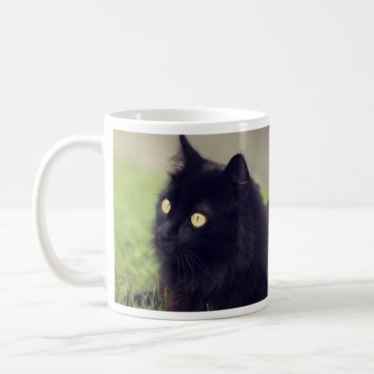Fluffy Black Cat with Golden Eyes Coffee Mug