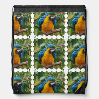 Fluffy Blue and Gold Macaw Backpack