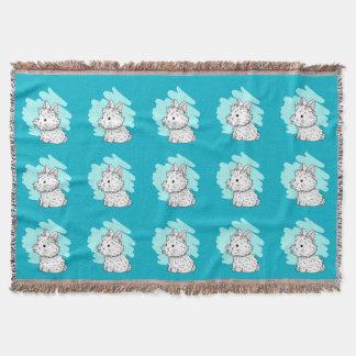Fluffy bunny Throw Blanket - Blue