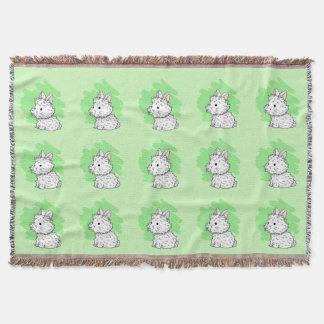 Fluffy bunny Throw Blanket - Green