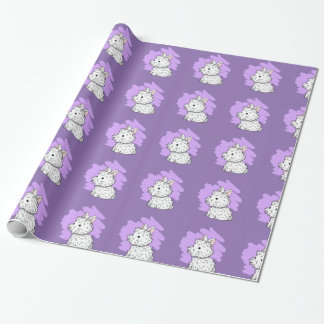 Fluffy bunny wrapping paper - Purple