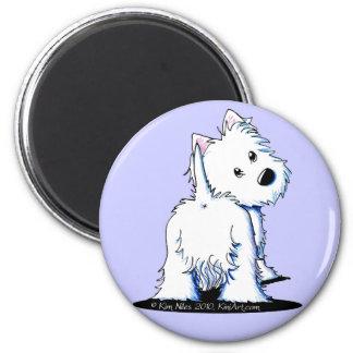 Fluffy Butt Westie 6 Cm Round Magnet