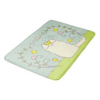 Fluffy Cat and Yellow Butterfly Bath Mat