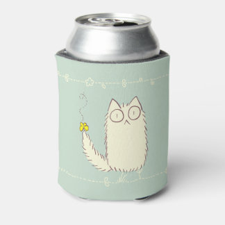 Fluffy Cat and Yellow Butterfly Can Cooler