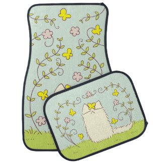 Fluffy Cat and Yellow Butterfly Car Mat
