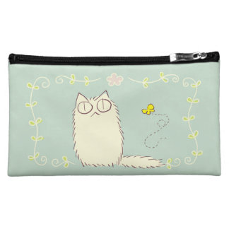 Fluffy Cat and Yellow Butterfly Cosmetic Bags