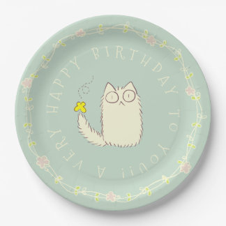 Fluffy Cat and Yellow Butterfly Custom text 9 Inch Paper Plate