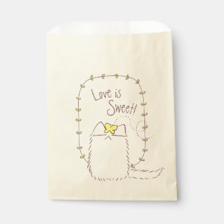 Fluffy Cat and Yellow Butterfly Custom text Favour Bags