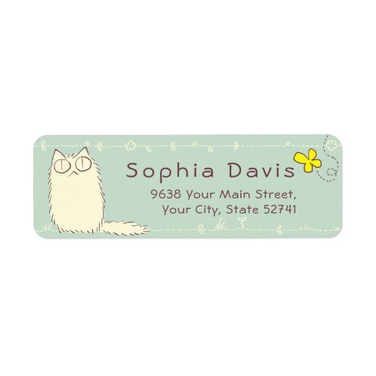 Fluffy Cat and Yellow Butterfly Custom text Return Address Label