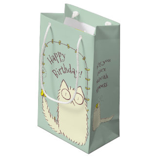 Fluffy Cat and Yellow Butterfly Custom text Small Gift Bag