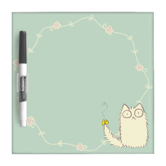 Fluffy Cat and Yellow Butterfly Dry Erase Board