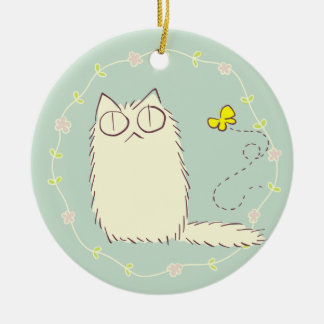 Fluffy Cat and Yellow Butterfly Round Ceramic Decoration