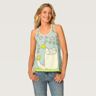 Fluffy Cat and Yellow Butterfly Tank Top