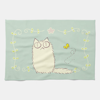 Fluffy Cat and Yellow Butterfly Tea Towel