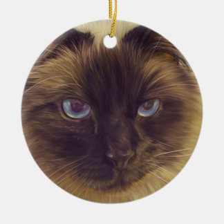 Fluffy Cat Christmas Ornament