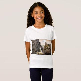Fluffy cat climbing children's t-shirt