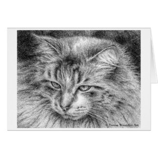 Fluffy Cat Portrait Pen and Ink Drawing Card