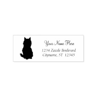 Fluffy Cat Silouette Rubber Stamp