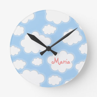 Fluffy Clouds Custom Name Personalized Wall Clock