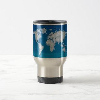 Fluffy clouds world map coffee mugs