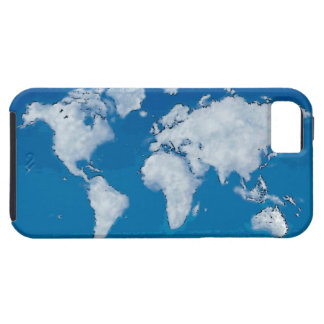 Fluffy clouds world map tough iPhone 5 case