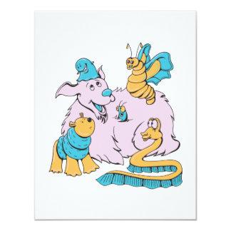 "fluffy dog and friends cartoon art 4.25"" x 5.5"" invitation card"