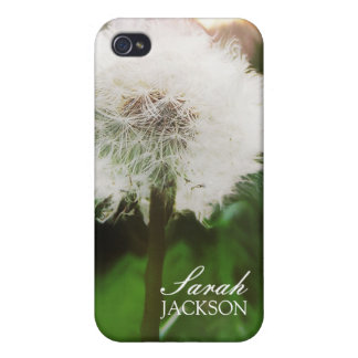 Fluffy Dreamy Dandelion pix fusion w Custom Name iPhone 4 Cover