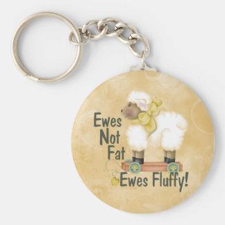 Fluffy Ewes Basic Round Button Key Ring