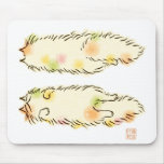 Fluffy Flop Cat (Calico) Mouse Pads