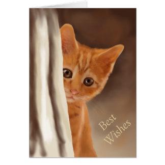 Fluffy Ginger Kitten Behind Curtain Card