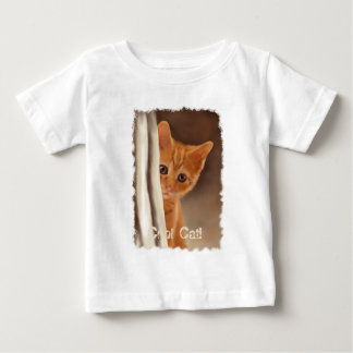 Fluffy Ginger Kitten & Curtain T Shirt