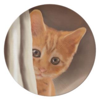 Fluffy Ginger Kitten Plate
