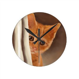 Fluffy Ginger Kitten Round Clock