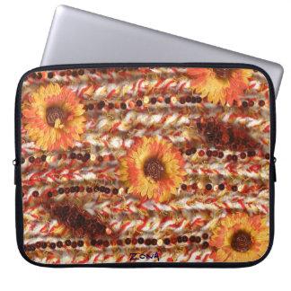 Fluffy glitzy flowery orange and white design laptop sleeve
