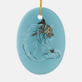 Fluffy Gray Cat on Blue Background Ceramic Oval Decoration