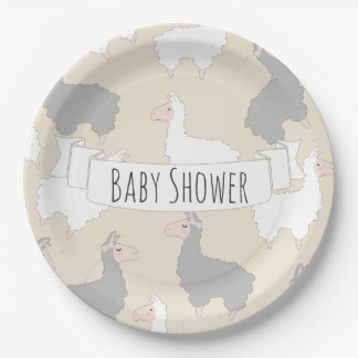 Fluffy Grey & White Llamas Baby Shower Paper Plate