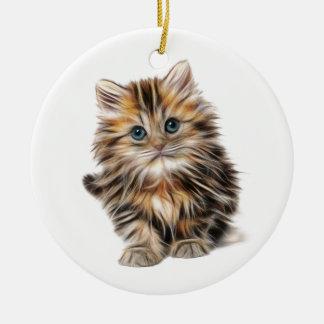 Fluffy Kitten Christmas Ornament