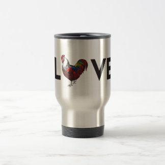 "Fluffy Layers ""LOVE"" Rooster Travel Coffee Mug"