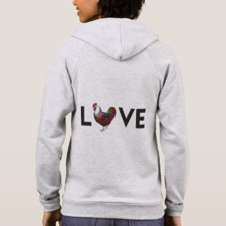"Fluffy Layers ""LOVE"" Rooster Womens Hoodie"
