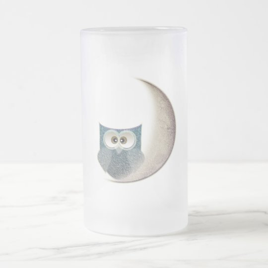 Fluffy Owl on the Moon Frosted Glass Beer
