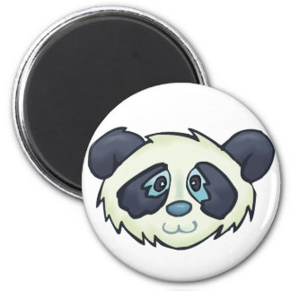 Fluffy Panda 6 Cm Round Magnet