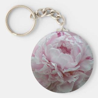 Fluffy Pink Peony Key Ring